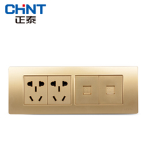 CHiNT 118 combination wall socket NEW5D steel frame champagne dazzle gold four two plug computer phone