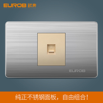 European Ben wall switch socket panel E9 bright gold stainless steel wire drawing type 118 a telephone socket
