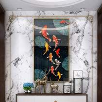 New Chinese Nine Fish map entry porch decorative painting mural background wall living room lucky feng shui end of the corridor hanging paintings