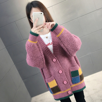 Large size womens knit cardigan in the long paragraph loose wild lazy wind sweater coat spring 2019 new Korean version