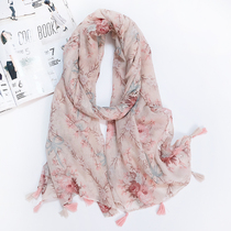 Scarf womens cotton linen Japanese small fresh fashion print long spring and autumn multi-functional 100 simple pink silk scarf.
