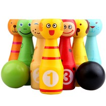 Large childrens solid wood cartoon animal bowling baby early education puzzle sports toy set indoor and outdoor 1-3