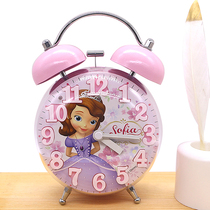 Cute alarm clock Princess student girl childrens mute bedroom bedside small cartoon super loud luminous