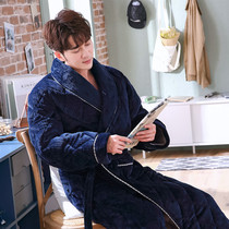 Winter mens robe thickened long paragraph flannel three layer padded bathrobe plus velvet warm robe pajamas winter
