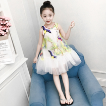 Girls dress summer 2019 new foreign children's clothing Korean version of the yarn skirt children's skirt summer princess skirt Pompon yarn