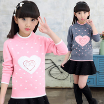 Girl Sweater pullover Spring 2019 autumn Winter new velvet children knitted bottom shirt baby big childrens clothing linens