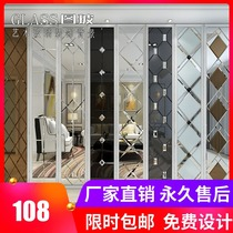 Art Glass TV background wall border fight mirror decorative glass mirror background wall diamond tea mirror silver mirror Gray mirror