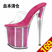 20 cm super high heels 19cm hate sky high crystal nightclub fun shoes SM large size waterproof platform with slippers