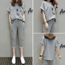 Large size womens spring and summer new foreign fat sister suit age was thin T-shirt pants was thin two-piece