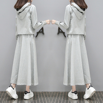 European Station 2019 spring and autumn new long sweater womens skirt casual Korean fashion chic two-piece suit tide