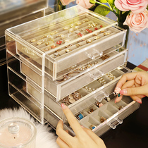 Jewelry box hand jewelry storage box earrings ring necklace velvet box finishing box dormitory earrings ring tray