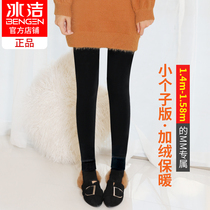 Ice clean small leggings plus cashmere thickened 150 short warm pants autumn and winter high waist wear cotton pants