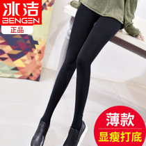Ice clean leggings women thin section of the spring and autumn wear high waist black tight pants large size wear cashmere foot tights