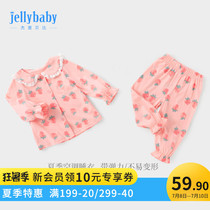 Girls home service summer thin section set 0-1 years old baby girl Princess children children cotton spring and autumn 3 baby pajamas