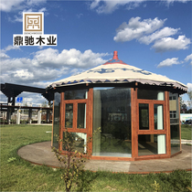 Pre-built wooden structure courtyard round gazebo Roman tent yurt open-air glass sun room mobile House