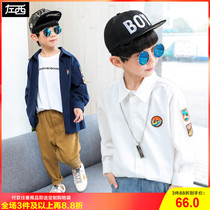 Left West boy shirt long-sleeved spring 2019 New childrens cotton shirt in the spring and autumn boy Korean version of the tide