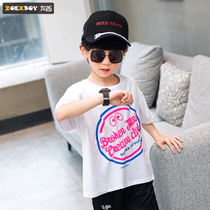 Left West boys summer T-shirt short-sleeved 2019 New childrens shirt in the big boy waterproof anti-pollution Korean version of the tide