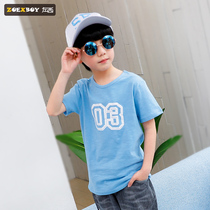 Left West boys summer T-shirt short-sleeved 2019 New childrens half-sleeved shirt cotton in the big boy Korean version of the tide