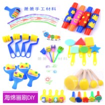 Children early education tools DIY handmade painting sponge painting brush children seal pen brush paint roller roller