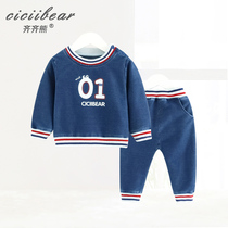 Qi Qi bear infant yarn-dyed rib knit denim suit spring 2019 men and women baby out two sets