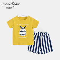Qi Qi Bear baby summer short-sleeved shorts suit 2019 New men and women baby cartoon cotton T-shirt two-piece