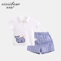 Qi Qi bear infant cotton short-sleeved suit boys and girls summer clothes baby POLO shirt shorts two-piece