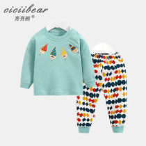 Qi Qi bear 2019 spring new boys and girls printing set baby baby cotton underwear two-piece