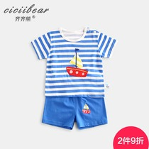 Qi Qi bear 0-1-3 years old men and women baby short-sleeved suit baby summer cotton Cartoon T-shirt shorts two-piece