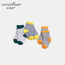Qi Qi bear spring 2019 New newborn baby boy and girl striped four seasons socks 0-1-3 years old baby socks