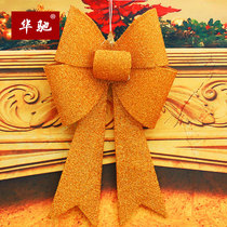 Huachi Christmas 70cm ribbon light bow Christmas scene decorations hotel counter door wall decoration