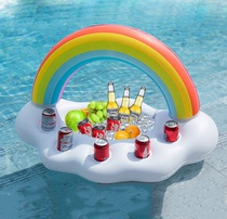 Inflatable water Flamingo cup holder 4 holes Flamingo tray beverage cup holder cup holder meal care rainbow clouds