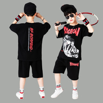 Boy suit summer fat child 2020 new short-sleeved 13-year-old 15 large child 11 boys clothes 12-year-old handsome 10