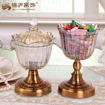 European candy can crystal glass with covered dried fruit snack storage bottle decorations living room coffee house new classical decoration