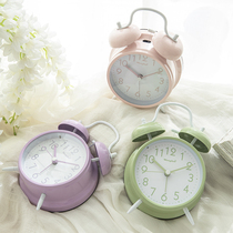 Warm candy color bell alarm clock Loud Lazy bed night light mute simple fashion for primary and secondary school students