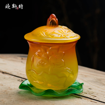 Osterford Front Water Supply Cup home glass Lotus Water Cup for the Buddha Cup Guanyin water cup size