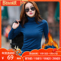 Autumn and winter high collar plus velvet bottoming shirt female long-sleeved thick thin black take 2018 new autumn clothing warm small shirt