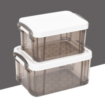 Plastic mini storage box small thick storage box jewelry finishing box hand-held transparent tabletop miscellaneous storage.