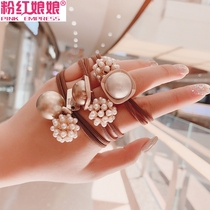 Imitation pearl hair ring Korea ins net red balls scalp tie hair rope headdress hair ring bracelet dual-use leather