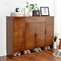 Shoe cabinet solid wood simple multi-layer simple modern living room entrance multifunctional storage door cabinet storage bamboo shoe rack