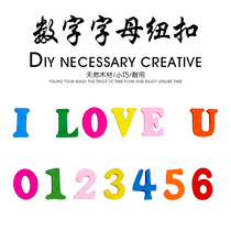 DIY mixed wooden childrens decoration handmade color digital letters wood buttons kindergarten literacy manual