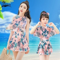 2019 new parent-child swimsuit female mother and daughter was thin belly Korean princess Siamese skirt fashion girls swimsuit