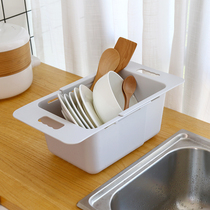 Deepening kitchen retractable sink leachate rack water filter leachate basket multifunctional plastic bowl rack fruit wash vegetable basin