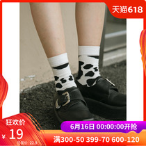 omont Egg Tart home retro black and white striped tube socks female students casual cute wild socks summer New