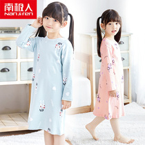 Antarctic childrens long-sleeved nightdress cotton summer baby thin pajamas in the big girl home service
