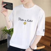 Summer mens short-sleeved T-shirt Tide brand 丅 桖 cotton 5 five-point sleeves Korean trend loose clothes 7 seven-point sleeves