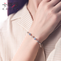 Catiro four-leaf grass bracelet female Korean version Sterling silver Sen department girlfriend small crowd design gift with Swarovski zirconium
