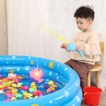Baby inflatable magnetic fishing toy pool set children pose stall smung-up children play water magnet child hook fishing rod inflatable