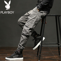 Playboy fall tooling jeans men loose Korean version of the Tide brand autumn casual pants mens feet trousers
