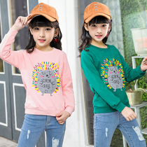 Girls long-sleeved T-shirt 2018 spring new cartoon children Korean version of the spring and autumn shirt in the childrens base shirt