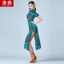 Wave pretty Latin dance practice dress dress 2019 summer new Chinese style sexy elegant modified version of the short paragraph cheongsam